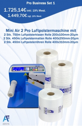 Mini Air Professional Set 1 | Mini Air Luftpolstermaschine mit 10x LP-Kissen 200x100mm, 700m